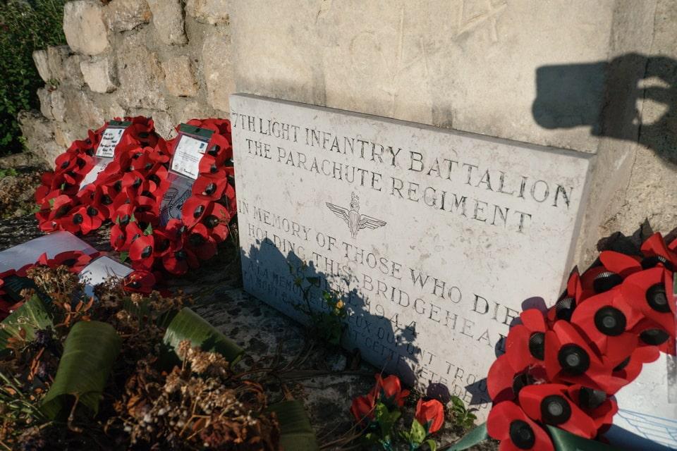7th Light Infantry Battalion memorial plaque in Benouville
