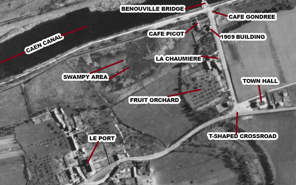 The reconnaissance photo of the Western bank of the Caen canal 1944
