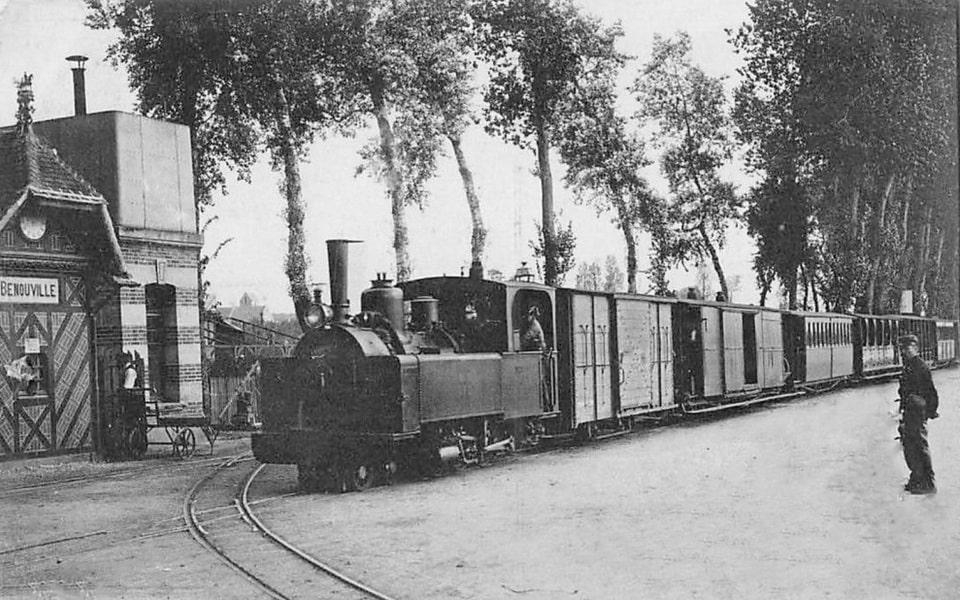 The narrow-gauge tram in Benovuille, Calvados, France