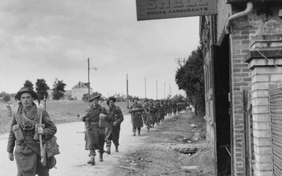 British troops on their march toward Ranville and Benouville