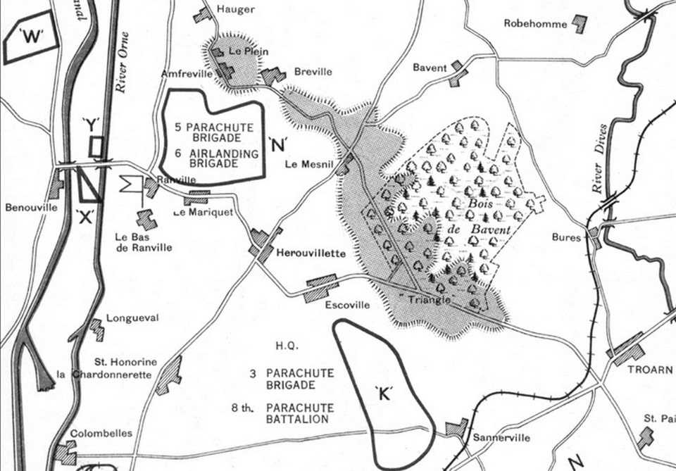 The landing zones of the British 6th Airborne Division in Normandy