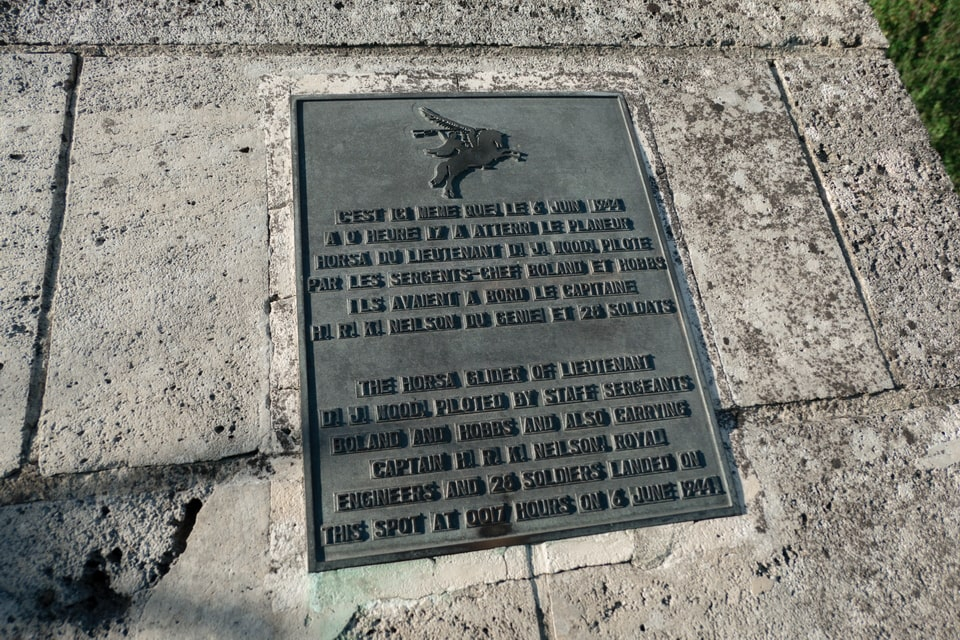 The monument plaque devoted to the crews of the Horsa gliders in Normandy