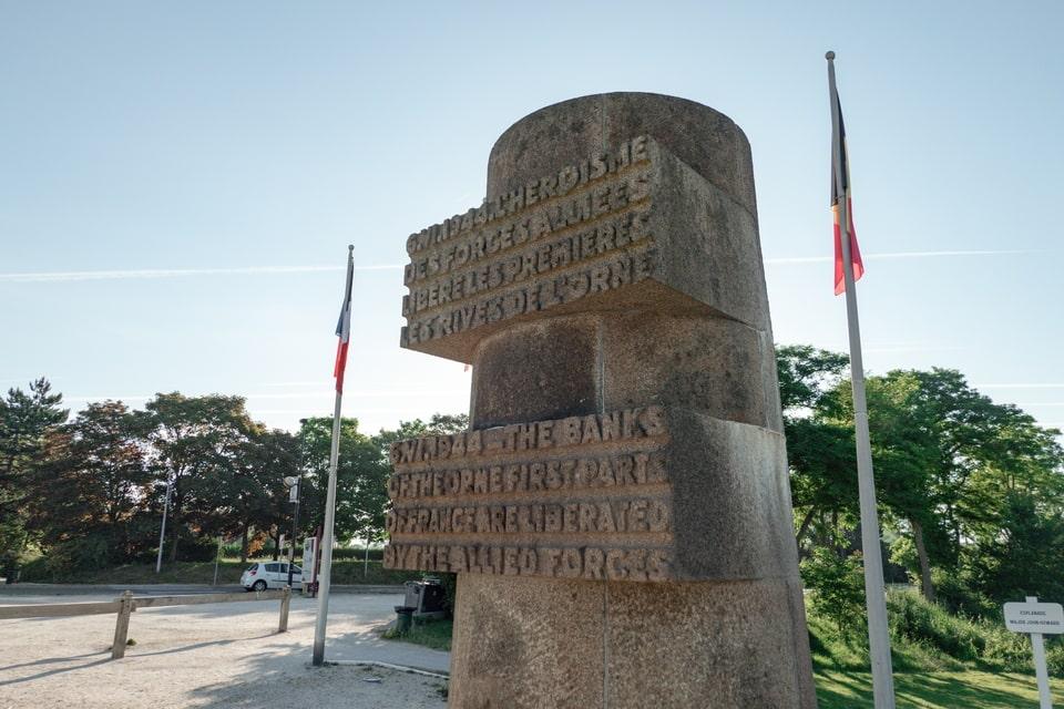 Pegasus bridge memorial sign