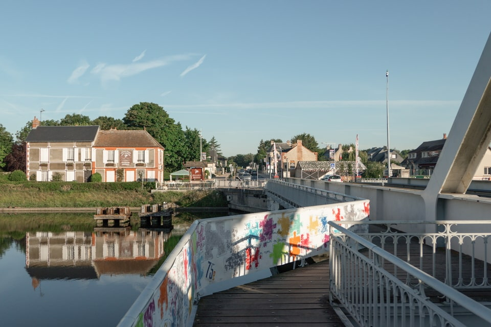 Pegasus bridge and the city of Benouville today