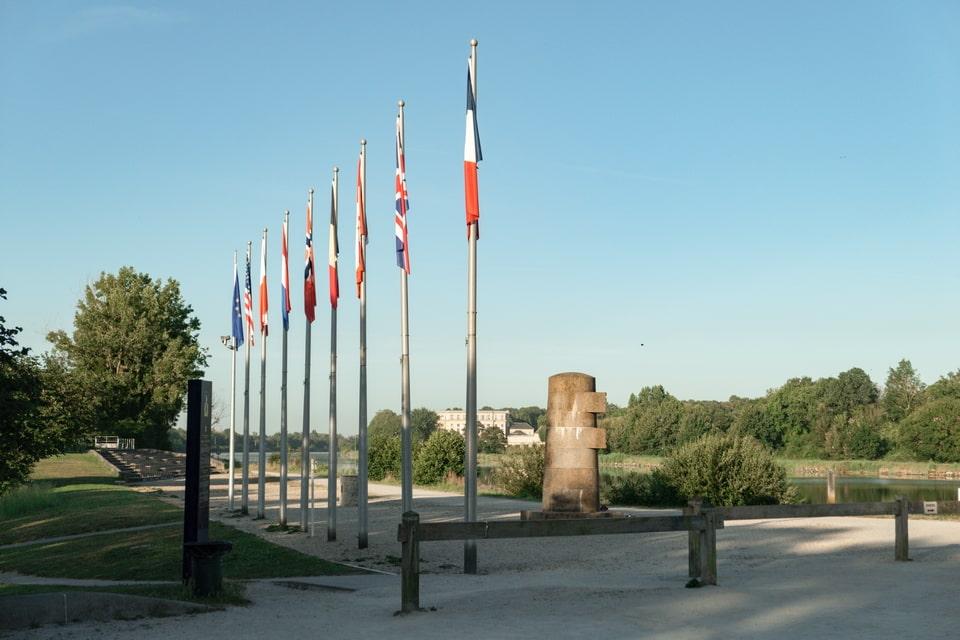 Flags near the Pegasus memorial site, France