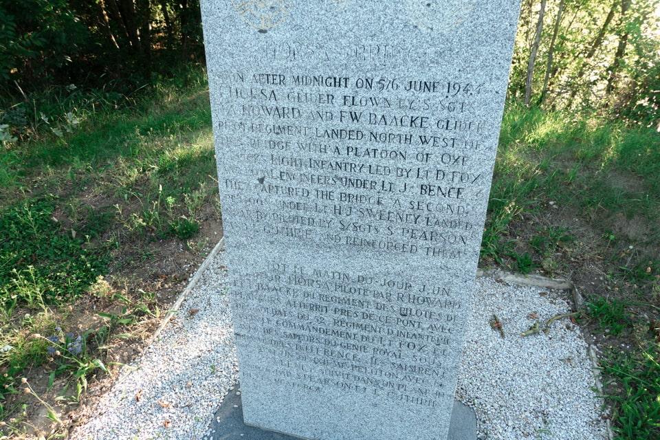 Horsa bridge memorial sign