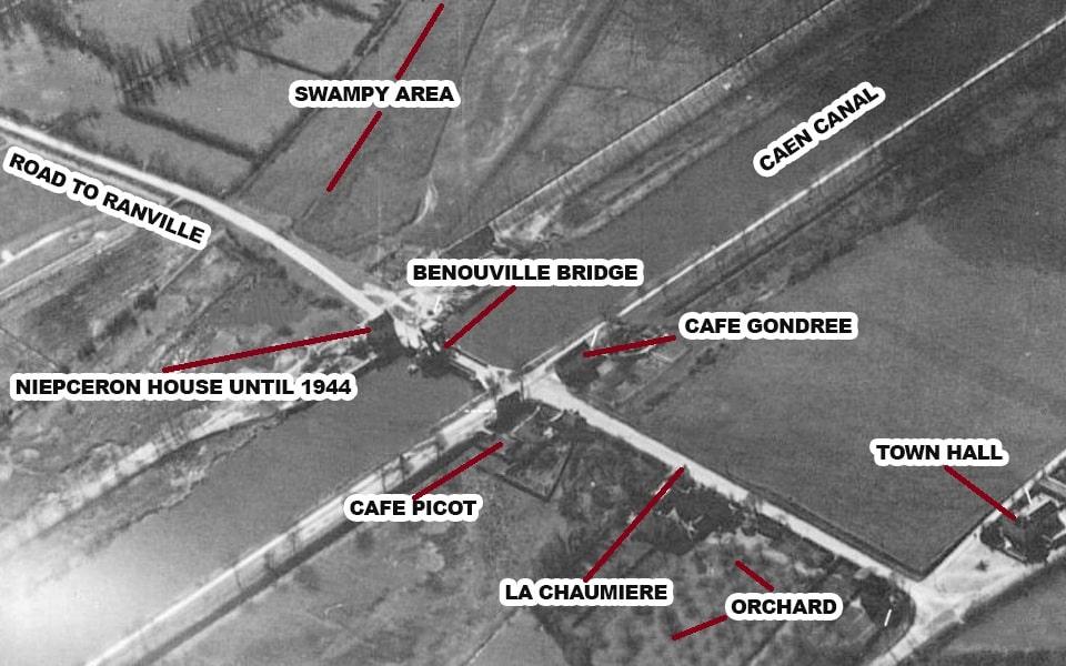 The recoinnassance photo of the Pegasus bridge in Benouville, 1944