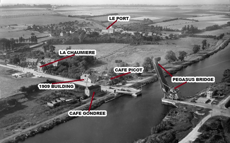 The Western bank of the Caen canal and Pegasus bridge after the War