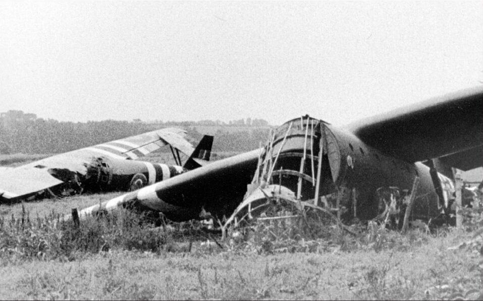 Two Horsa gliders next to the Pegasus bridge, June 1944