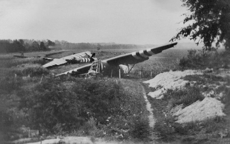 All three Horsa gliders of the Major John Howard men near Benouville