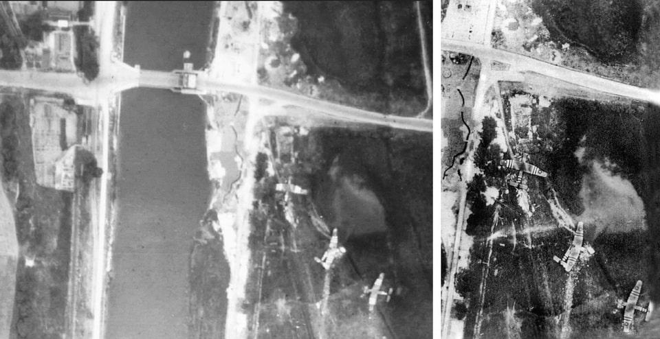 The recoinnassance photo of the gliders next to Pegasus bridge